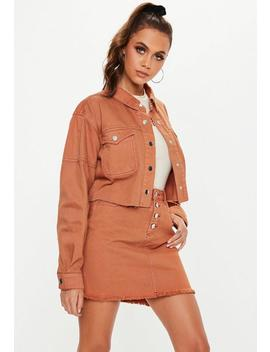Tan Contrast Stitch Cropped Denim Shacket by Missguided