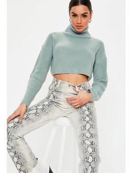 Petite Green Roll Neck Knitted Cropped Sweater by Missguided