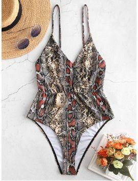 Zaful Snakeskin Cami High Waisted Swimsuit   Multi A L by Zaful