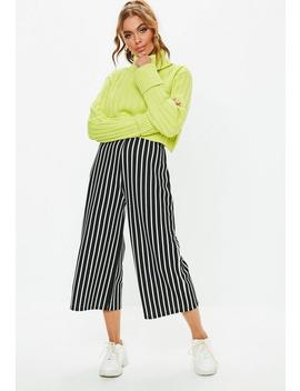 Black Mono Stripe Culotte Pants by Missguided