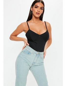 Petite Black Ribbed Strappy Bodysuit by Missguided