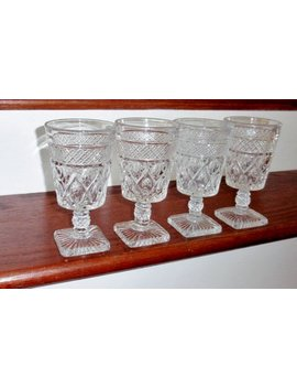"4 Imperial Cape Cod Glass Of Ohio 6 1/4"" High Heavy Clear Crystal Water Tea Goblets Glasses Fancy Stems 1930s Set Four Excellent Condition by Etsy"