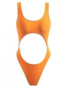Cut Out High Cut Swimsuit   Dark Orange M by Zaful