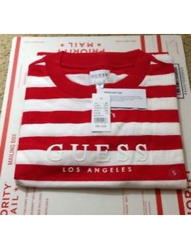 New Nwt Guess Los Angeles Red White Palm Stripe T Shirt   Size Small S by Guess