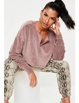 Blush Fluffy Velour Cropped Sweatshirt by Missguided