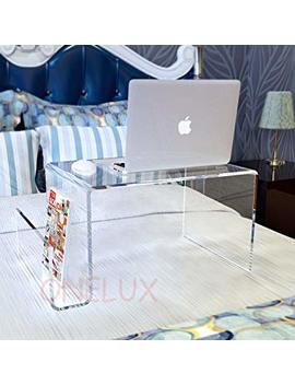 Waterall Clear Lucite Bed Tray Table,Acrylic Laptop Stand With Additional Magazine Rack   For Bed Use Purpose (Clear) by Onelux