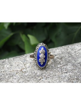 Edwardian 10k Gold, Silver, And Blue Enamel Ring, Size 7 Us by Etsy