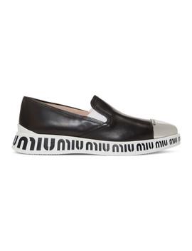 Black Pointed Toe Cap Sneakers by Miu Miu