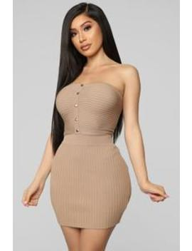 Going Out With You Ribbed Skirt Set   Taupe by Fashion Nova