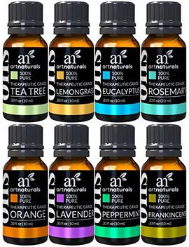 Art Naturals Therapeutic Grade Aromatherapy Essential Oil Set – (8 X 10ml)   100 Percents Pure Of The Highest Quality Oils – Peppermint, Tea Tree, Lavender, Eucalyptus by Art Naturals