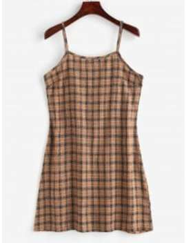 Back Zipper Plaid Cami Dress   Multi L by Zaful