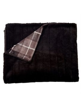 Throw Channelled Faux Fur Plaid Backing Dark Chocolate by Indigo
