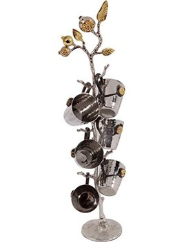 Yair Emanuel Set Of 6 Liquor Cups Of Hammered Metal On Pomegranate Branch Stand by Yair Emanuel
