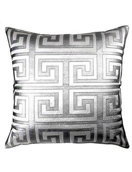 Edie 24x24 Applique Decorative Pillow, Large, White Silver by Edie