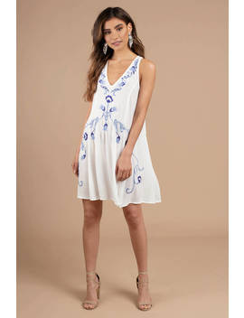 Free People Adelaide Ivory Multi Festival Slip Dress by Tobi