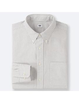 Men Oxford Regular Fit Striped Long Sleeve Shirt by Uniqlo