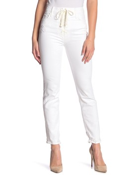 The Lace Up Dazzler Ankle Chew High Waist Jeans (Almost Innocent) by Mother