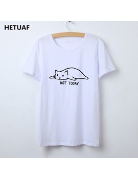 Hetuaf Kawaii Cat Tshirt Women Graphic Tees Women Not Today Funny T Shirt Women Top Femme Cartoon Hippie Ulzzang Camisetas Mujer by Hetuaf