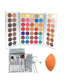 Beauty Glazed 63 Colors Eyeshadow Professional Makeup 63 Colors Eye Shadow Palette Powder With Profession Makeup Brushes Set And Powder Blender Gorgeous Me Cosmetics Perfect Color Eye Shadow Tray Set by Beauty Glazed