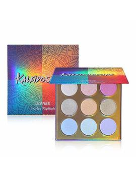 Ucanbe Kaleidoscope Holographic Highlighter Makeup Palette Kit, 9 Color Polarized Shimmer Illuminating Glow Highlighting Bronzers Powder Set, Laser Outer Packaging With Mirror Cosmetics by Ucanbe