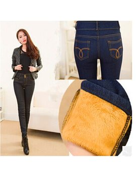 Wkoud 2019 Winter Jeans Women Gold Fleeces Inside Thickening Denim Pants High Waist Warm Trousers Female Snow Jeans Pants P8018 by Wkoud