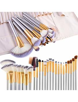 Make Up Brushes, Vander Life 24pcs Premium Cosmetic Makeup Brush Set For Foundation Blending Blush Concealer Eye Shadow, Cruelty Free Synthetic Fiber Bristles, Travel Makeup Bag Included, Champagne by Vander Life