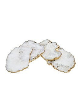 Godinger Silver Art White Quartz Csrts Brs Edge Set Of 4 by Godinger