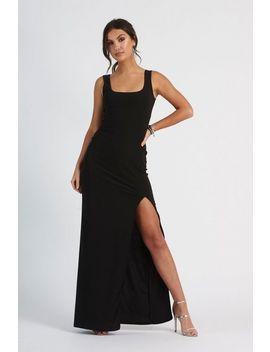 **Black Square Line Maxi Dress By Club L by Topshop