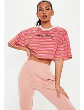 Pink Honey Bunny Slogan Stripe Crop Top by Missguided
