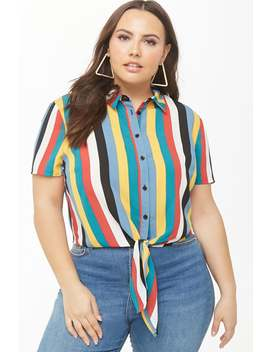 Plus Size Multicolor Striped Tie Front Shirt by Forever 21
