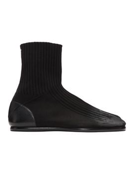 Black Knit Tabi Boots by Maison Margiela