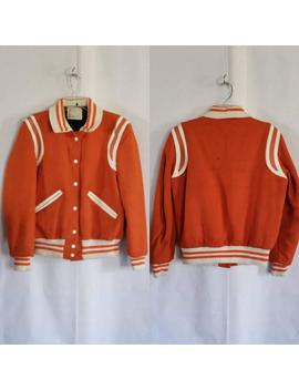 1980s Vintage Orange And White Letterman Varsity Jacket Size Medium by Etsy