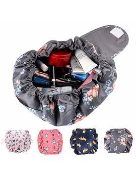 Drawstring Makeup Bag Portable Cosmetic Lazy Bag Magic Toiletry Bag,Waterproof Travel Makeup Bag For Storage Organizer With Large Capacity For Women And Girls (Dark Grey Flower) by Kipida