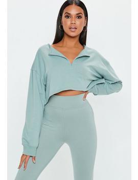Green Zip Front Crop Sweatshirt by Missguided