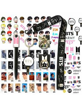 Bts Gifts Set For Army   32 Pcs Bts Lomo Cards/2 Bts Phone Ring Holder/ 1 Bts Lanyard/ 1 Bts Keychain/ 1 Bts Pen/ 4 Bts 3 D Stickers/ 2 Bts Tattoo Stickers by Y Fresh