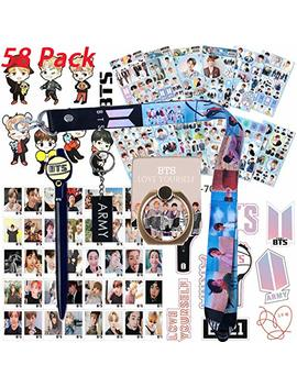 Bts Bangtan Boys Gift Set For Army   12 Sheet Of Bts Stickers, 40 Pack Bts Photo Card, 2 Pack 3 D Stickers, 1 Pack Bts Long Lanyard, 1 Pack Bts Finger Ring, 1 Pack Bts Key Chain, 1 Pack Bts Pen by Sports Liking