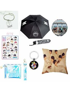 Youyouchard Bts Bangtan Boys,Bts Umbrella+Bts Keychain+Double Sided Pillow Case/Cushion Covers+ Bts Bracelet+Cosmetic Bag+Makeup Mirror+Bts Stickers,Bts Gift For Girls by Youyouchard