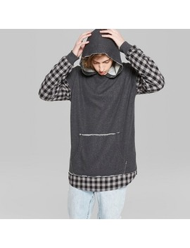 Men's Plaid Long Sleeve Mix Media Hooded Pullover Sweatshirt   Original Use™ Folkstone Gray by Original Use