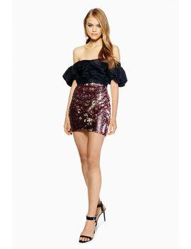 Petite Sequin Drape Mini Skirt by Topshop
