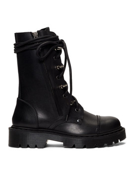 Black Spiked Army Boots by Vetements