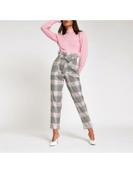 Pink Check Paperbag Ring Belt Peg Pants by River Island