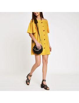 Yellow Bardot Button Front Swing Dress by River Island