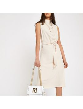 Beige Cowl Neck Tie Waist Sleeveless Dress by River Island