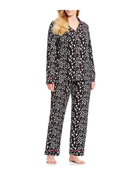 Plus Wild Hearts Classic Woven Pajama Set by Bed Head