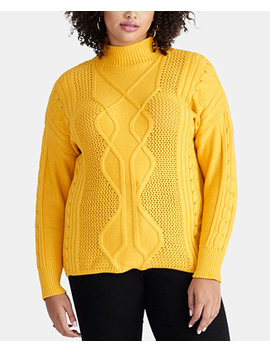 Plus Size Chunky Cable Sweater, Created For Macy's by Rachel Rachel Roy