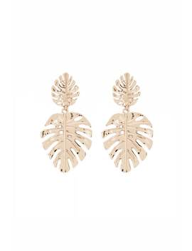 Monstera Drop Earrings by Forever 21
