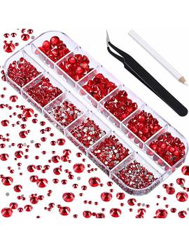 Tec Unite 2000 Pieces Flat Back Gems Round Crystal Rhinestones 6 Sizes (1.5 6 Mm) With Pick Up Tweezer And Rhinestones Picking Pen For Crafts Nail Face Art Clothes Shoes Bags Diy (Red) by Tec Unite