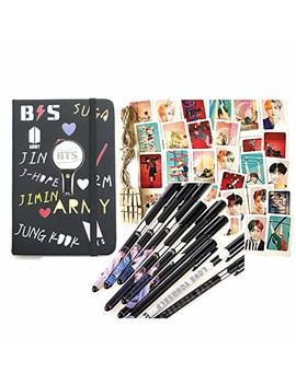Bts Gifts Set For Army   32 Pcs Love Yourself 結 'answer' Postcards/ 1 Bts Leather Notebook/ 8 Pcs Bts Pen /10 Photo Clips 4 Meter String by Starhelp