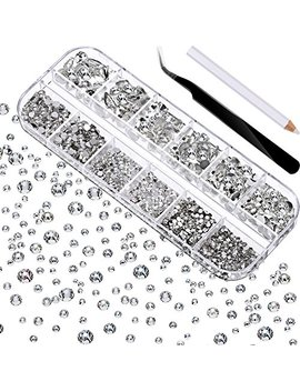 Tec Unite 2000 Pieces Flat Back Gems Round Crystal Rhinestones 6 Sizes (1.5 6 Mm) With Pick Up Tweezer And Rhinestones Picking Pen For Crafts Nail Face Art Clothes Shoes Bags Diy (Clear) by Tec Unite