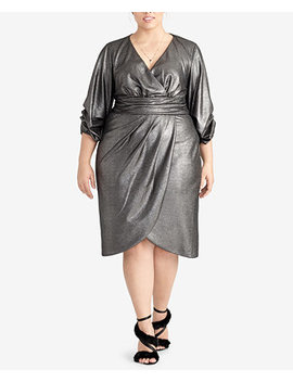 Trendy Plus Size Metallic Wrap Dress by Rachel Rachel Roy